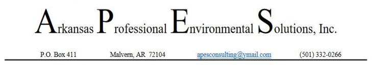 Arkansas Professional Environmental Solutions, Inc. Letterhead