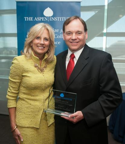 Dr. Stepen Schoonmaker with Jill Biden at the Aspen Institute Awards Ceremony